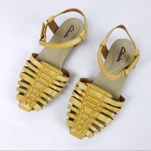 Clarks Yellow Leather Huarache Sandals
